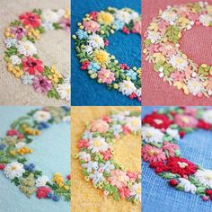 いいね!404件、コメント7件 ― @yula_handmade_2008のInstagramアカウント: 「* . 今日は、花のリース編です。 . はじめはピンクッションや、イヤホンケース用に刺繍していたら、 気付けばこんなにたくさん‼︎ . 大きさは、直径4.5cmの小さな刺繍です。 . .…」 Garden Embroidery, Crystal Embroidery, Embroidery Works, Hand Embroidery Stitches, Embroidery Hoop Art, Ribbon Embroidery, Cross Stitch Embroidery, Embroidery Patterns, Brooch Corsage