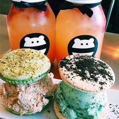 Snow Monster - pistachio macaron with cookies + cream ice cream  oreo macaron with mint chip ice cream  strawberry lemonades in take home jars - Irvine, CA, Estados Unidos
