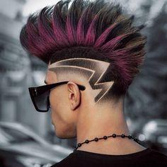 Faux Hawk Men, Short Faux Hawk, Dyed Hair Purple, Dyed Hair Pastel, Great Haircuts, Haircuts For Men, Haare Tattoo Designs, Man Bun Hairstyles, Hairstyle Ideas