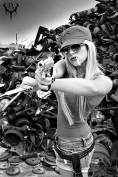 #bad ass #badass #chick #woman #girl #sexy #gun #shoot #pistol #beautiful #blonde #brunette #chick #tough