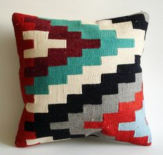 Sukan / Handwoven Vintage Turkish Kilim Pillow Cover, Decorative Pillows, Accent Pillow, Throw Pillow, 16x16 inch, Gray, Blue, Red