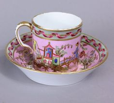 Sevres Chinoiserie pink ground cup and saucer