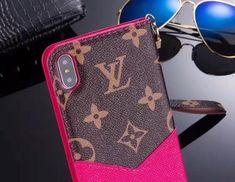 Brown Pink Accent Leather Wallet Case For iPhone 6 7 8 Plus X Iphone 6, Pink Iphone, Iphone Wallet, Iphone Leather Case, Leather Wallet, Louis Vuitton Phone Case, Black Louis Vuitton, Clutch Mini, Latest Iphone
