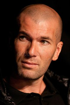 Photo about French soccer star Zinedine Zidane at press conference. Image of zidane, famous, soccer - 20698277 Zinedine Zidane, Bald With Beard, Fc Chelsea, Best Resume Template, Steven Gerrard, Soccer Stars, Shaved Head, Ac Milan, Tottenham Hotspur
