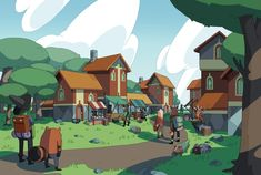 ArtStation - The Town of Spring Tower, Jake Morrison Adventure Time Art, Disney Drawings, Cartoon Background, Illustrations And Posters, Art Background, Cartoon Design, Animation Background, Environmental Art, Fantasy Town