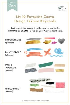 These keywords are a helpful resource to help you find the type of element you need without having to spend hours searching in Canva 👀  These texture effects are fun elements that can add colour, depth and interest to your posts.   Use these to: ✅ Layer over images  ✅ Add interest to a background ✅ Create a focal point  ✅ Frame an image  #creativedesign #designfeed #graphicdesign #visualgraphic #canva #canvatips #canvadesign #canvalove #canvadesign #canvatipsandtricks #canvakeywords  App Canva, Graphic Design Tips, Instagram Design, Planners, Texture Design, Creative Design, Design Elements, Presentation, Palette