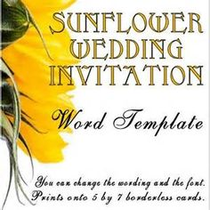 FREE PDF Download Sunflower Wedding Invitation And RSVP Templates - Sunflower wedding invitations templates