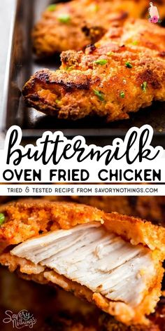 The Best Buttermilk Oven Fried Chicken (Truly Crispy!) The Best Buttermilk Oven Fried Chicken (Truly Crispy!),Main Dish You won't be disappointed by this recipe – it's the BEST Crispy Buttermilk Oven Fried Chicken! Made. Buttermilk Oven Fried Chicken, Buttermilk Recipes, Fried Chicken Recipes, Oven Baked Fried Chicken, Healthy Fried Chicken, Baked Fried Chicken Breast Recipe, Simple Fried Chicken Recipe, While Chicken Recipes, Salads