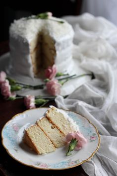 Lady baltimore cake with orange marmalade filling and coconut buttercream frosting