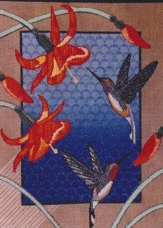 needlepoint hummingbirds & flowers, Sundance canvas