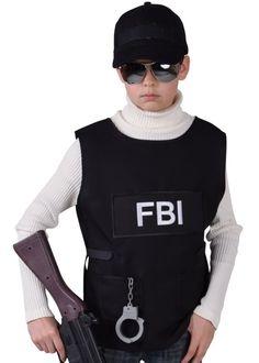 ce déguisement FBI garçon comprend un gilet FBI noir inscription FBI devant en tissu qualité luxe, idée pour anniversaire, carnaval, fêtes déguisées, thème agent du FBI, policier, uniforme.