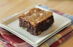 chocolate brownies with espresso, walnuts and salted caramel. Not a walnut fan, but everything else sounds amazing!!