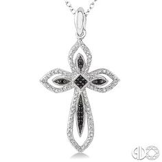 This beautiful diamond cross pendant exudes elegance and sentiment. Expertly crafted in sterling silver, the swirling ribbons is lined with alluring 22 pave set round cut black and white diamonds are twisted into this clever looping cross. This cross suspends from a cable chain. Total diamond weight is 1/10 ctw. Price: $149.00
