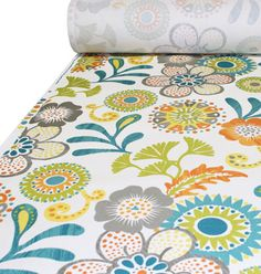"54"" wide 100% Cotton   A gorgeous, bohemian inspired floral by P/ Kaufman.  The colors are teal blue, spiced carrot orange, sunshine yellow, split pea green and granite gray on white.   Pattern is multi directional and has a vertical repeat of 25"" by 27"" horizontal.  Made of 100% cotton, upholstery weight fabric, weighs 10 oz or 300 grams per yard and has a soil and stain resistant finish."