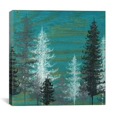 Wrought Studio Teal Trees by Emily Magone Print Painting on Canvas Size: 1 Canvas Artwork, Canvas Art Prints, Painting Prints, Painting Art, Texture Painting, Green Paintings, Art Paintings, Green Wall Art, Tree Art