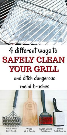 4 different ways to safely clean your grill and ditch those dangerous metal brushes and some delicious recipes to smoke and grill too!