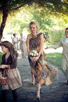 LOVE this African inspired bridesmaids dress ~ Wedding at Bushmans Kloof