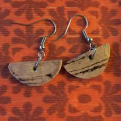 Cork earrings half moon, upcycled jewelry, gift for her by bethebridge on Etsy