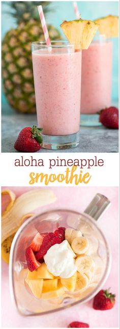 This Aloha Tropical Smoothie has just 6 simple ingredients- pineapple strawberries banana yogurt ice and juice Tropical goodness in every sip smoothies detoxwater fruits ice smoothierecipes easyrecipe drinks detoxdrinks homemade recipes Smoothie Recipes With Yogurt, Easy Smoothies, Smoothie Drinks, Tropical Smoothie Recipes, Fruit Drinks, Smoothie Diet, Smoothie Recipes Yogurt, Detox Drinks, Protein Smoothies