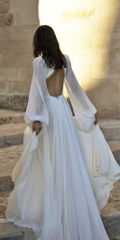 30 Simple Wedding Dresses For Elegant Brides simple wedding dresses a line with long sleeves open back boho murashka Wedding Dress Sleeves, Long Sleeve Wedding, Dream Wedding Dresses, Sleeve Dresses, Weding Dresses, Pretty Dresses, Beautiful Dresses, Gorgeous Dress, Elegant Bride