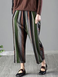 119afdd7266 Vintage Colorful Vertical Striped Pants for Women. Plus Size ...
