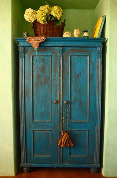 Armoire stained with BioShield Healthy Living stain (Go inside this house....awesome!)