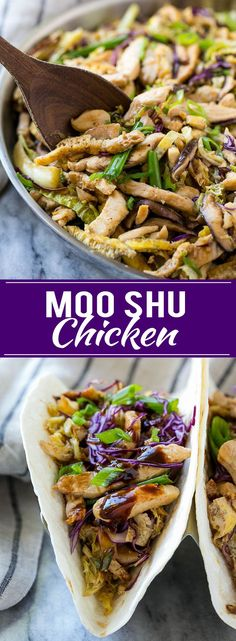 This recipe for moo shu chicken is a quick and easy dinner option that tastes so much better than take out! NewComfortFood AD