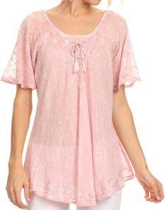 Sakkas Zoya Marbled Embroidery Cap Sleeves Blouse / Top