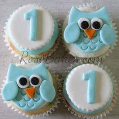 Boy 1st Birthday : Standing Owl Cake, Smash Cake, and Owl Cupcakes!! #cupcakes #owl