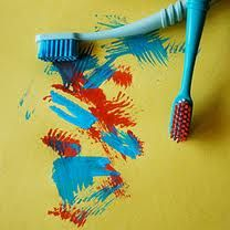 Cheap Kids Activity: Toothbrush Painting.  Canyon Ridge Pediatric Dentistry, Parker & Castle Rock, CO.  www.canyonridgepediatricdentistry.com
