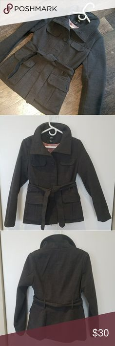 H&M Gray Winter Jacket, Pockets and Tie Belt Gray winter jacket from H&M. Worn a handful of time, great condition! H&M Jackets & Coats Pea Coats