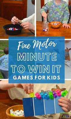 Fine Motor Minute to Win it Games for Kids.     #Finemotorskills #finemotor #childdevelopment #Occupationaltherapy #Kidsactivities #GamesforKids #Minutetowinit