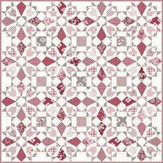 I am totally in love with this pattern and this fabric, Rustic Romance by I may have ordered a few bundles and bolts… Star Quilts, Scrappy Quilts, Easy Quilts, Quilting Tutorials, Quilting Projects, Quilting Designs, Quilting Ideas, Quilt Block Patterns, Quilt Blocks