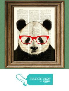 Panda Smarty Pants Panda Bear with red glasses illustration beautifully upcycled dictionary page book art print from CollageOrama http://www.amazon.com/dp/B0199SAEH2/ref=hnd_sw_r_pi_dp_cVHmxb143ASCC #handmadeatamazon