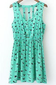 Birds Print Cutout Back Dress 15.00