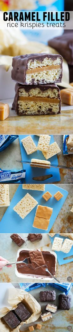 Looking for a treat easy enough for the kids to help make? These Caramel Filled Rice Krispies Treats only have 3 ingredients and are easy enough to get the whole family involved! They also make a great gift for dad for Father's Day!