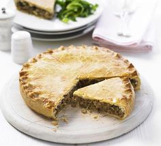 Spiced pork and potato pie - This budget-friendly French-Canadian speciality, known as tourtière, is traditionally served at Christmas, but with salad it makes a perfect spring supper Fodmap Recipes, Pie Recipes, Cooking Recipes, Cooking Videos, Curry Recipes, Savory Pastry, Savory Tart, Savoury Pies, Pork Pie Recipe