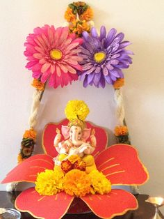 Top 81 fresh, creative & innovative Ganpati decoration ideas for home that is not only unique but easy on pocket as well. Diwali Decorations At Home, Festival Decorations, Flower Decorations, Altar, Gauri Decoration, Ganpati Decoration Design, Ganesh Chaturthi Decoration, Home Flower Arrangements, Janmashtami Decoration