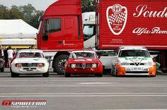 The Three Beauties. Alfa Bertone, Alfa Gta, Alfa Romeo Gta, Alfa Romeo Junior, Alfa Giulia, Race Cars, Classic Cars, Racing, Fiat