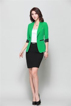 972bc2f15423 Cool Business Casual Outfit Summer Formal Female Skirt Suits for Women Work  Wear Sets Work Wear Blazer Ladies Business Suits Jacket Office Uniform Style    ...
