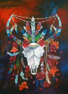 "Original Acrylic Painting on Canvas, Animal Skull Painting, Bohemian, Flower Painting, Feather Painting, ""Peace, Love and Horns"" by TheWildBristle on Etsy https://www.etsy.com/listing/212056424/original-acrylic-painting-on-canvas"