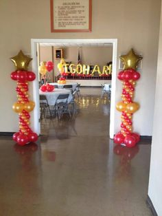 Red and gold balloon columns
