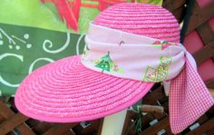 Womans Beach Hat Hot Pink With Pique Beach Theme by BuffaloDesigns, $15.00