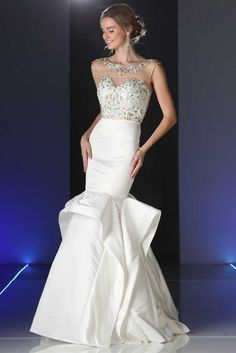 Prom Gown CDCK46. Floor Length Trumpet Shape Prom and Evening Gown has Floral Pattern Beading Embellished Bodice with Bateau Neckline, Cap Sleeves and Beaded Illsuion Back with Zipper Closure, Solid Color Long Skirt with Tiers of Fabric Creating a Fuller Design. https://www.smcfashion.com/wholesale-prom-dresses/prom-gown-cdck46