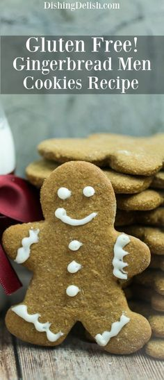 These Gluten Free Gingerbread Men Cookies are as easy and fun to make as they are to decorate! Sweet, soft-baked, and made with the traditional flavors of cinna Gluten Free Cookie Recipes, Gluten Free Sweets, Gluten Free Diet, Foods With Gluten, Gluten Free Cooking, Dairy Free, Gf Recipes, Gingerbread Man Cookies, Gingerbread Men