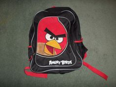 Little Boys Black & Red ANGRY BIRDS Plush Logo School Zipper Close Backpack…