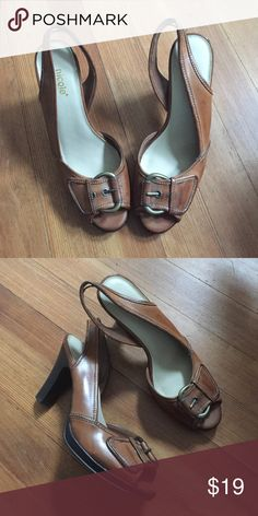Nicole Brown Peep Toe Heels with Buckle Brown heels with cute buckle design. Peep toe style with straps. Brand: Nicole. SIZE 7. Nicole  Shoes Heels
