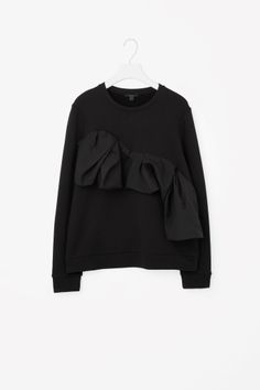 COS image 2 of Sweatshirt with ruche detail in Black