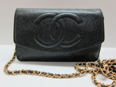 Authentic CHANEL Wallet on a Chain WOC Black Caviar Gold Chain Cross body Bag