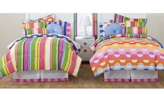 (For Sophie?)  Pink Green Dots Stripes Teen Girl Bedding Full Comforter Set Bed in a Bag Colorful Rainbow
